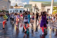 Dansers bij de Super Mega Continentale dansgebeurtenis door Sylvain Emard Dance royalty-vrije stock afbeeldingen