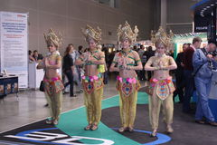 Dansers bij de tentoonstelling photoforum-Expo 2010 stock foto's