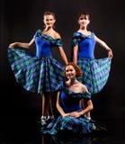 Dansers in kilten stock foto's