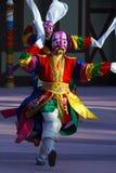 Dansers met roze maskers Stock Foto's