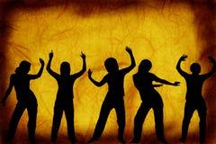 Dansers op een grungeachtergrond Stock Foto's