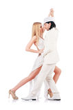 Danses de danse de paires d'isolement Images stock