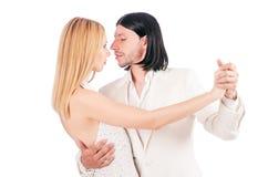 Danses de danse de paires d'isolement Photographie stock libre de droits