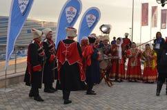 Danses folkloriques en parc olympique à Sotchi Photographie stock