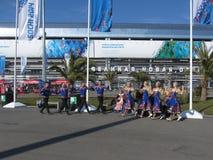 Danses folkloriques en parc olympique à Sotchi Photos libres de droits