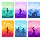 Danses traditionnelles de partout dans les cartes en liasse de brochure du monde Calibre culturel de Styles de danseur de flyear, illustration stock