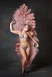 Danseur burlesque avec des fans de plume Images libres de droits