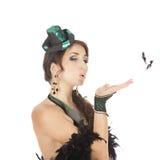 Danseur burlesque avec la robe verte Images stock