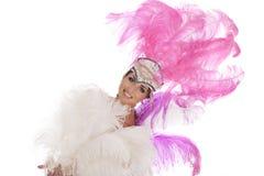 Danseur burlesque dans la robe blanche avec le plumage rose images stock