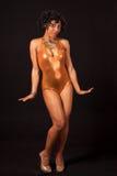 Danseur Burlesque dans le collant de danseur d'or Image libre de droits