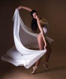 Danseur classique professionnel avec le matériel blanc images stock