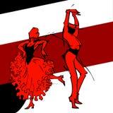 Danseur de couples de flamenco, silhouette d'aspiration de main Image libre de droits
