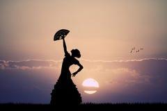 Danseur de flamenco au coucher du soleil Images stock