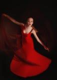 Danseur de flamenco dans la robe rouge avec le voile Photos stock