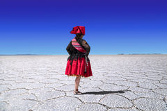 Danseur de folklore de lac de sel d'Uyuni Image libre de droits