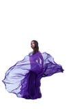 Danseur de l'Arabie posant dans le tissu oriental de vol Images libres de droits