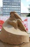 Danseur de sculpture en sable la nuit blancs festival Images libres de droits