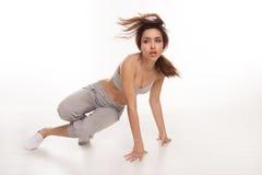 Danseur féminin énergique d'houblon de hanche photos libres de droits