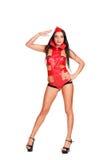 Danseur Go-go dans le costume rouge d'étape Image stock