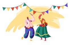 Danseur Man et danse de femme sur la cérémonie Représentation de danse sur le festival indien Interprète dans l'habillement asiat illustration libre de droits
