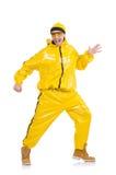 Danseur moderne dans la robe jaune d'isolement Photos stock