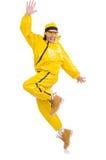 Danseur moderne dans la robe jaune d'isolement Photographie stock libre de droits