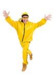 Danseur moderne dans la robe jaune d'isolement Image stock