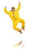Danseur moderne dans la robe jaune d'isolement Photo stock