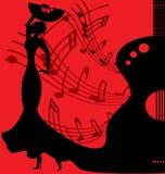 danseur noir-rouge de flamenco de fond illustration libre de droits