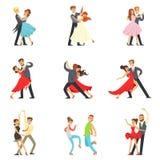 Danseur professionnel Couple Dancing Tango, valse et d'autres danses sur l'ensemble de Dancefloor de concours de danse illustration de vecteur