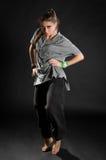 Danseur sur le bacground noir Photographie stock