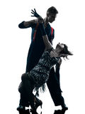 Danseurs élégants de couples dansant la silhouette photos libres de droits