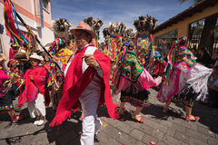 Danseurs dans l'habillement traditionnel en Equateur Image libre de droits