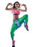 Danseurs de zumba de femme dansant la forme physique exerçant l'isolat d'excercises photo stock