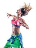 Danseurs de zumba de femme dansant la forme physique exerçant l'isolat d'excercises photographie stock