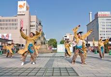 Danseurs japonais de festival de Daihanya Photographie stock
