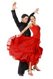 Danseurs latins dans l'action. D'isolement sur le blanc Photos libres de droits