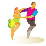 Danseurs professionnels dansant énergétiquement le swing Photographie stock