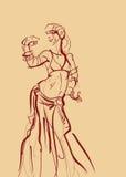 Danseuse du ventre tribale avec des cymbales tenant impressionnant expressif illustration stock