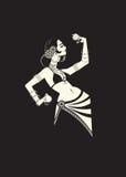 Danseuse du ventre tribale avec des cymbales tenant p impressionnant expressif illustration libre de droits