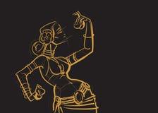 Danseuse du ventre tribale avec des cymbales tenant p impressionnant expressif illustration de vecteur