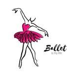 Danseuse rose de ballerine Le ballet est ma vie tirée par la main Fuselage parfait Le danseur porte Femelle dans le tutu posant d illustration libre de droits