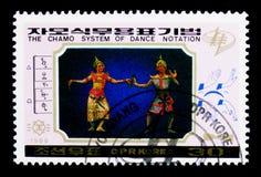 Dansez les scènes, système de Chamo de serie de notation de danse, vers 1989 photographie stock