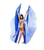Dansfaraokvinna som bär en egyptisk dräkt. Arkivbild