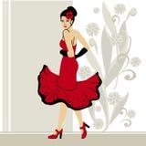 Dansflicka i rött Arkivfoto