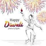 Dansflicka med bränningdiyaillustrationen för lycklig diwalihälsningdesign med utdragen färgrik fyrverkeritappning för hand vektor illustrationer