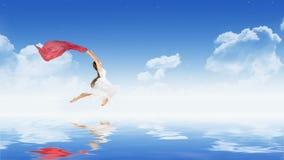 Dansflicka på vattenyttersida Royaltyfri Fotografi