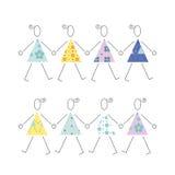Dansflickor i färgrik klänningillustration Royaltyfri Fotografi