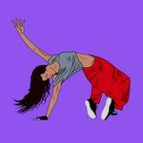 Danshöft-flygtur eller avbrott-dans för ung kvinna på golvet royaltyfri illustrationer