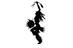 Dansing indian Illustration on white. Black silhouette of dansing indian Illustration on white royalty free illustration
